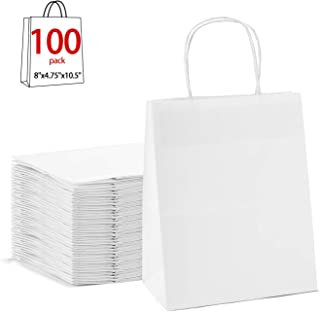GSSUSA 8x4.75x10.5100pc White Paper Bags with Handles,Goodie Bags, Mechandise Bags, Retail Bags, Party Bags, White Bags with Handles Bulk, 100% Recycled Paper Bags