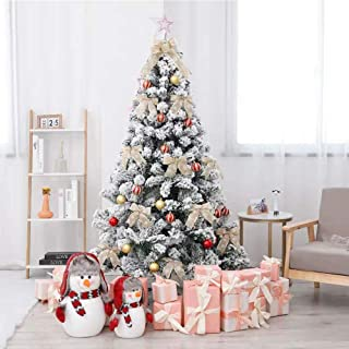 Iwell Flocked Snow Christmas Tree, Hinged Artifical Snow Tree, Premium PVC Needles/Foldable Metal Stand, Xmas Full Tree for Living Room (6FT) SDS001W