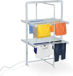HOMCOM Elektrisch beheizbarer Wäscheständer Wäschetrockner Turmtrockner 2 Ebenen Klappbar Silber 73 x 67 x 110 cm