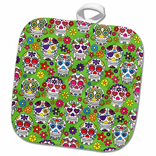 3D Rose Colorful Sugar Skulls All in A Row with A Green Background Pattern Pot Holder, 8 x 8