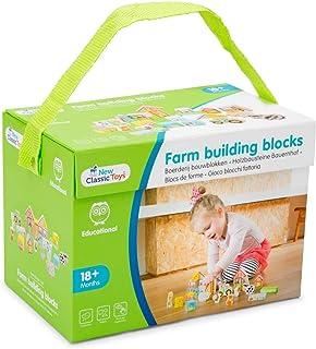 New Classic Toys 10820 träbyggstenar bondgård, Multi Color