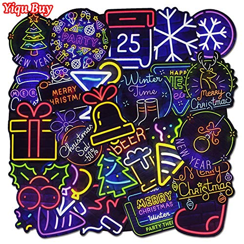 25 Pcs Christmas Neon Light Stickers for Kids Toys Laptop Suitcase Skateboard Motorcycle Bumper Cool Waterproof Graffiti Sticker