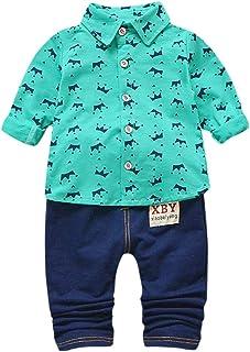 Rumity Baby Jungen Bekleidungssets Langarm HemdHose Baby Jungen Kleidung Set Shirt  Weste  Hose Baby Fliege Braun Anzug für Baby Geburtstagsparty Kleid Baby Jungen Strampler