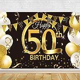 Banner de fondo cumpleaños,Suministros de decoración de pancartas de fondo,Banner de fondo para fiesta de cumpleaños,Suministros de fiesta de cumpleaños,Decoración Fiesta Cumpleaños (Negro / 50 años)