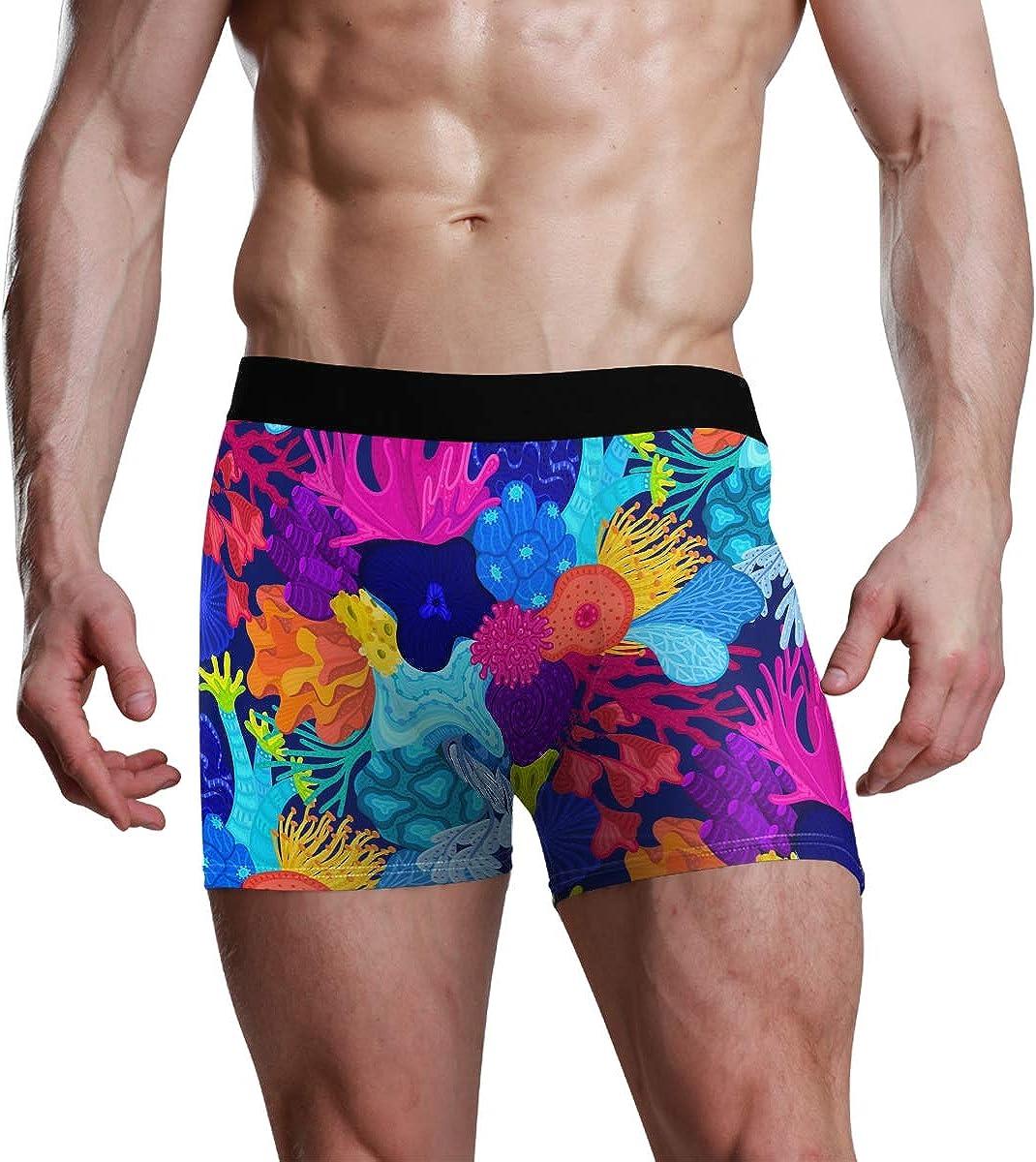 HangWang Mens Underwear Briefs Cartoon Cute Corals Fantastic Breathable Long Boxer Briefs Underwear Boys