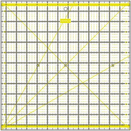SEMPLIX Patchwork-Lineal Quilt-Lineal, transparent, mit inch Skala und Winkelfunktionen, ideal für Patchwork und zum Basteln, 12,5 x 12,5 inch (gelb)
