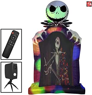 AIR CHARACTERS 9 1/2' Gemmy Airblown Inflatable Living Projection Jack Skellington Tombstone Movie Screen 223217