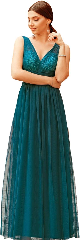EverPretty Elegant ALine VNeck Long Tulle Bridesmaid Dress Sequin 07458
