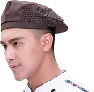 SM SunniMix Chef Flat Beret Pastry Baker Kitchen Summer Mesh Cooking Works Uniforms Chef Cap for Adults