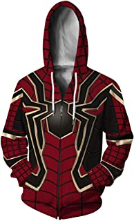 Casual Style Zip-up Hoodie Long Sleeve with Spider Print Pullover Sweatshirts Breathable & Comfortable