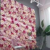 Künstliche Blumen Säule Wand, Kunstblumen Panel für Garten Hochzeit Dekor - Rosa, 60 x 40 x 9 cm