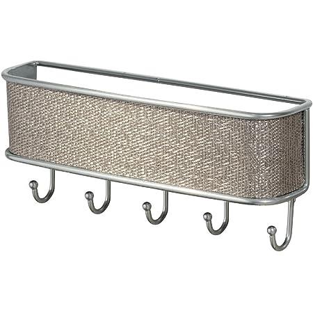 "iDesign Twillo Metal Wall Mount Key and Mail Rack, 5-Hook Organizer for Kitchen, Mudroom, Hallway, Entryway, 10.5"" x 2.5"" x 4.5"" - Metallico"