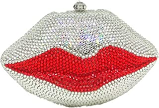 MDSQ Ms. Diamond Red Lips Sexy Evening Bag Clutch Chain Shoulder Bag Girl Interesting Creative Personality Wedding Party Gift Fashion 16 * 12 * 7cm Fashion personality (Color : Silver)