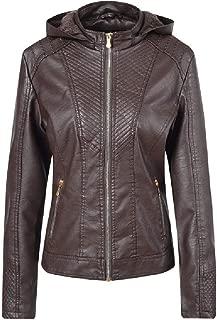 neveraway Women Biker Hoode Leather Fall Winter Leather Coat Jacket