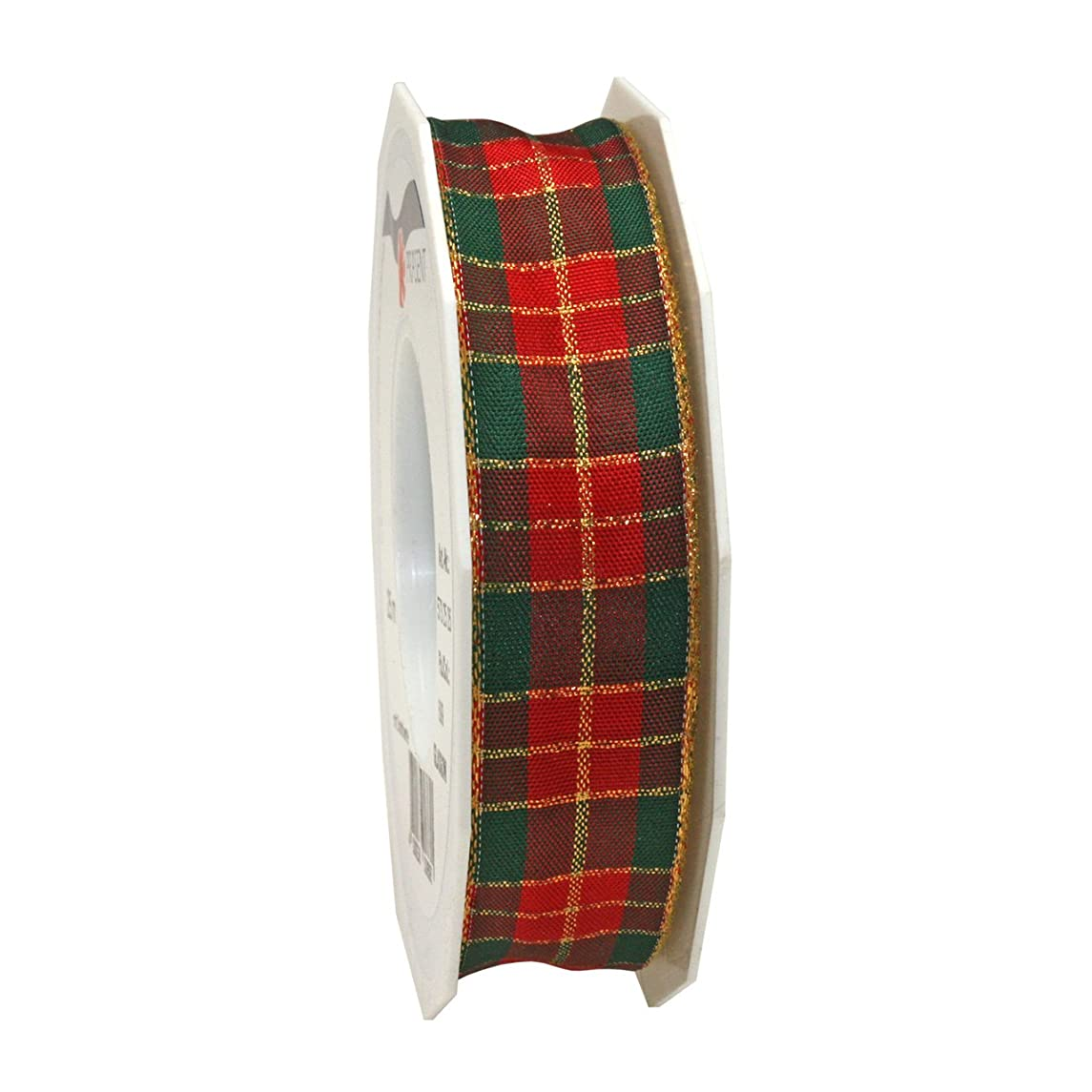 Morex Ribbon 57325/25-609 French Wired Acetate Glasgow Ribbon, 1-Inch by 27-Yard, Red