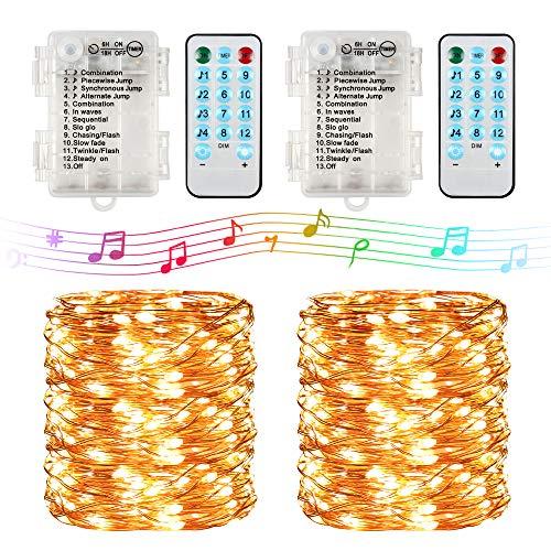 CENXINY - Stringa di luci a LED, 10 m, 100 luci a filo di rame con telecomando, timer scintillante, 8 modalità di luci musicali (bianco caldo)