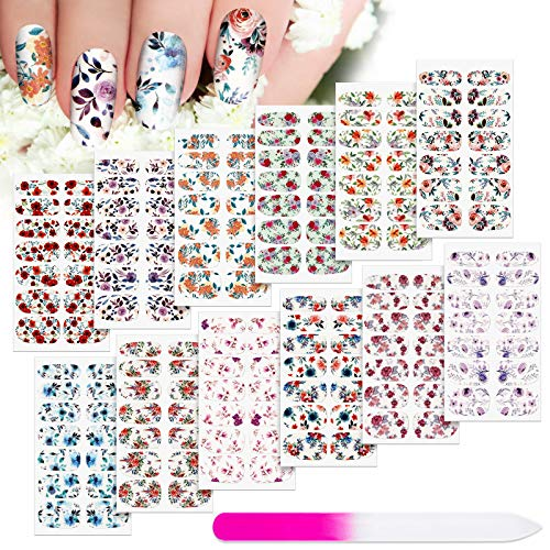 168 Pieces 12 Sheets Full Wraps Nail Polish Stickers Flower Print Self-Adhesive Nail Art Decal Strips Manicure Kits Colorful Flower Full Cover Nail Decal Strips with Nail File for Women Girls