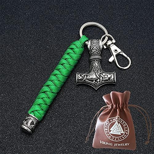 BBYOUTH Vintage Vikingo Mjolnir Llavero Trenzado Paraguas Hechos A Mano Trenzado Al Aire Libre Alpino Hombre Nórdico Joyería,Verde