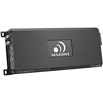 Massive Audio TX48 Trident Marine Amplifier. 200 Watts x 4 @ 4 Ohm, 4 Channel, Car Amplifier with Bass Boost. (Bluetooth Streaming Optional)