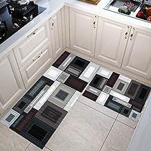 Kitchen Carpets Black, White and Gray Geometry Floor Mats Large Floor Carpets Doormats Bedroom Kitchen Rugs 50x80+50x160cm