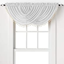 2-Pack: Beaded Emerald Crepe Waterfall Valances - Assorted Colors (White)