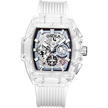 Onola ON6011 Men's Quartz Watch Transparent Hollow Dial Silica Gel Band Fashion Multifunction Wrist Watch 3ATM Luminous Display Chronograph Calendar