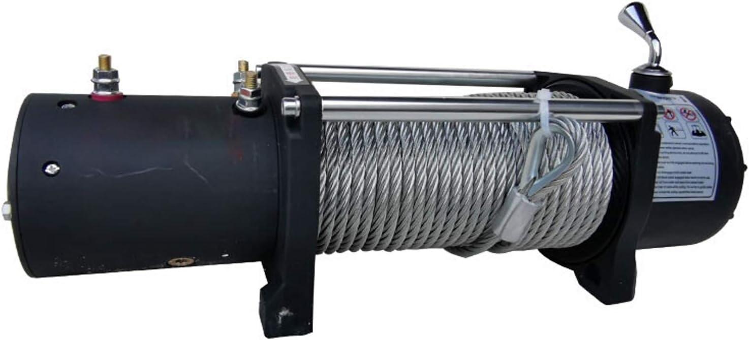 XZZ Cabestrante Electrico 9500LBS, Cabrestante De Remolque De 12 V / 24 V CC, Longitud De La Cuerda 24 M, con Control Remoto, Todoterreno Resistente Al Agua, Adecuado para UTV ATV, Camión