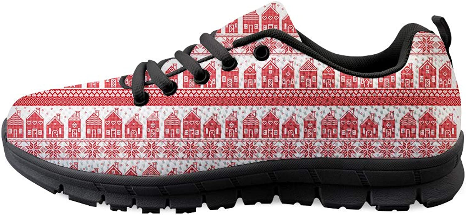 Owaheson Lace-up Sneaker Training shoes Mens Womens Ugly Christmas Full Warmth Home