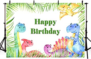 MEHOFOTO Dinosaurs Boy Birthday Party Photo Studio Background Safari Jungle Wild Green Palm Leaves Happy Birthday Party Decoration Banner Backdrop for Photography 7x5ft