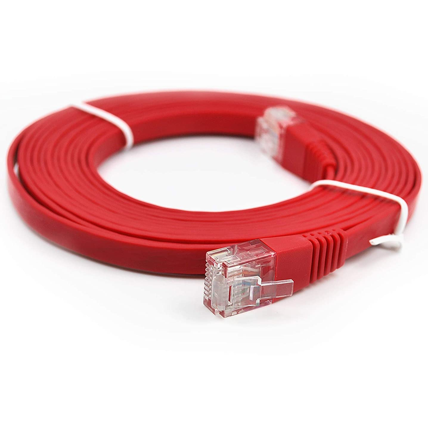 Piertelecom-Ethernet Patch Cable CAT6 LAN Flat Network Cable High Speed (10ft/red/10 Pack)