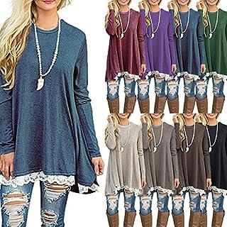 Festnight Women Blouse,New Fashion Women Casual T-Shirt Round Neck Long Sleeve Crochet Lace Splice Irregular Hem Top Tee