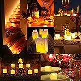AMIR LED Kerzen, 12 LED Flammenlose Kerzen, Weihnachten LED Teelichter, Elektrische Teelichter Kerzen für Halloween, Weihnachten, Party, Bar, Hochzeit (Flicker Gelb) - 4