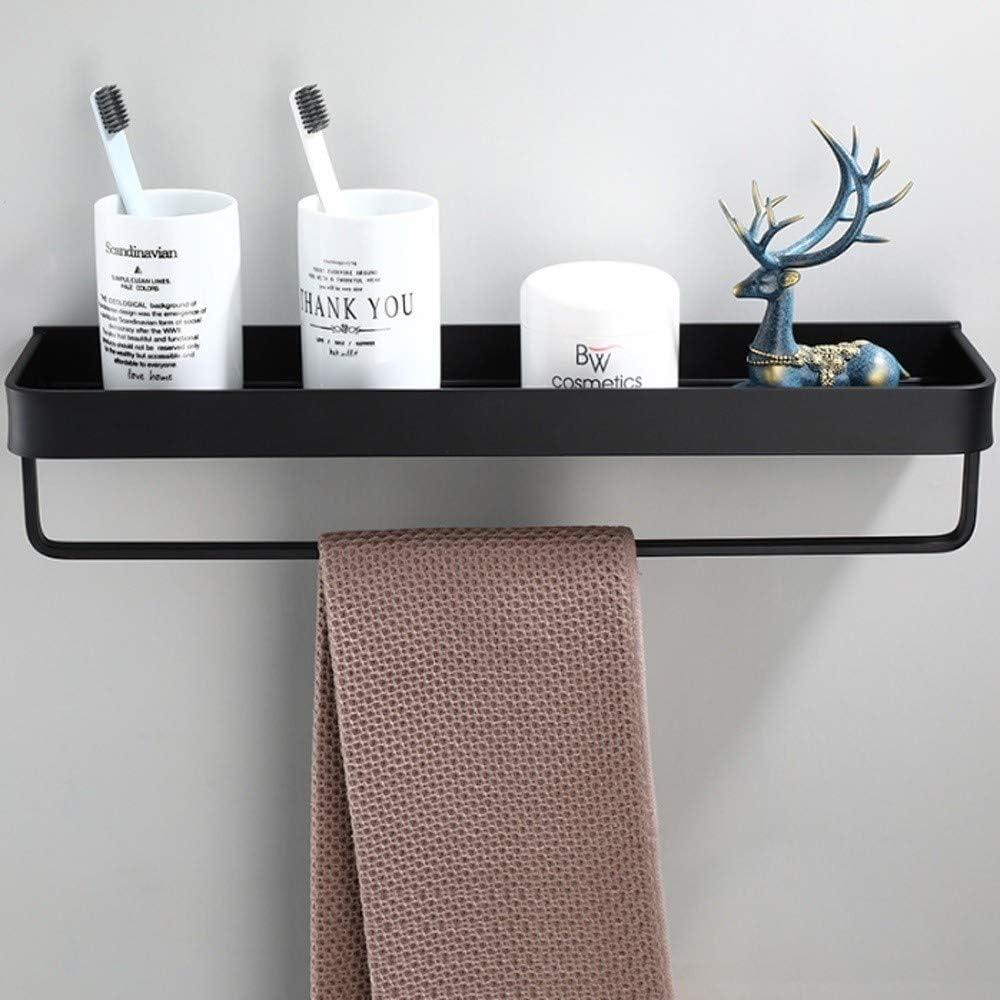 Thwarm Bathroom Shelf Space Aluminum Shower Rack Corner Shelf Square Bath Shower Shelf Wall Mounted Black Storage Organizer Rack Bathroom Kitchen Shelves Bathroom Hardware Pendant Size : 30cm