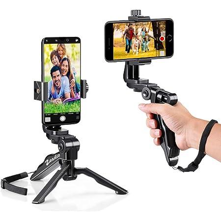 Zeadioミニスマートフォン三脚グリップスタビライザー デスクトップ卓上スタンド三脚 電話ホルダー付き iPhone、Samsung、Huaweiおよびすべての電話に適合