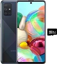 "Samsung Galaxy A71 (128GB, 6GB) 6.7"", 64MP Quad Camera, 25W Fast Charger, Android 10, GSM Unlocked US + Global 4G LTE International Model A715F/DS (128GB + 64GB SD + Case Bundle, Prism Crush Black)"