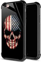 ZHEGAILIAN iPhone 6s Case,9H Tempered Glass iPhone 6 Cases for Men Boys,Cool American Flag Skull Pattern Design Printing Shockproof Anti-Scratch Case for Apple iPhone 6/6s 4.7 inch Skull