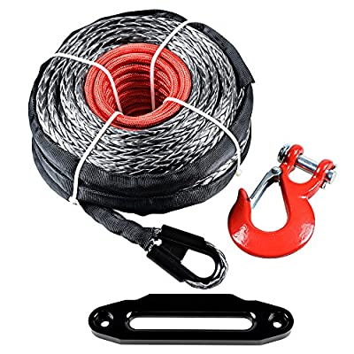 """95' x 3/8"""" Black Synthetic Winch Rope Recovery Cable + Red Hook + 10"""" Red Hawse Fairlead"""