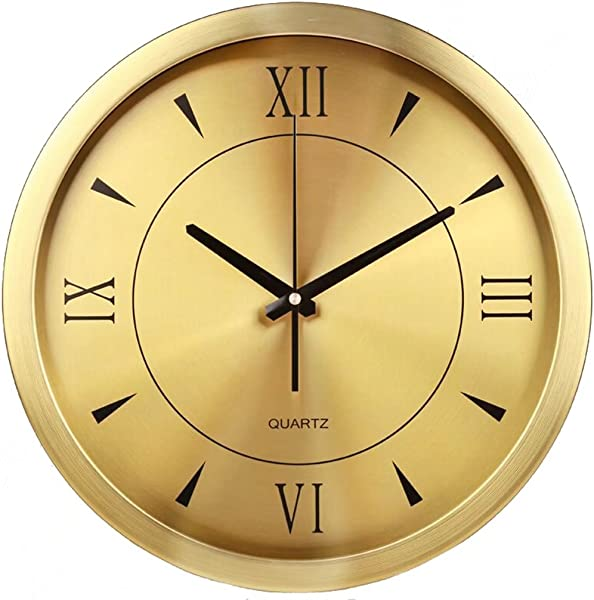 XZJT Simple Metal Round Wall Clock 14 Inch Silent Wall Clock Living Room Bedroom Gold Wall Clock