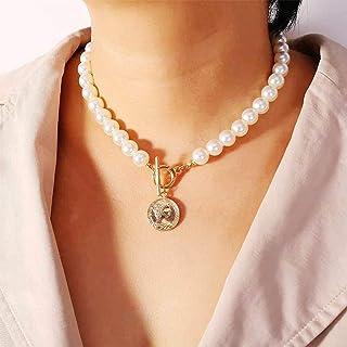 Handcess - Collana con perle e ciondolo a forma di moneta d'oro, stile vintage, per donne e ragazze