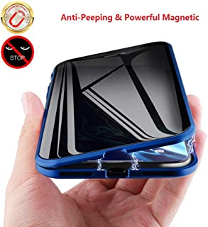 MIMEI Privacy Magnetic Case for iPhone XR 6.1 inch, Clear Double Sided Tempered Glass [Magnet Absorption Metal Bumper Frame] Thin Anti-Spy 360 Full Protective Phone Case 5.8'' (Blue, XR 6.1