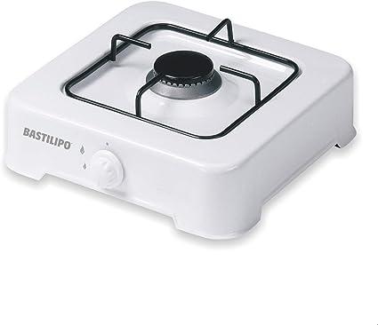Bastilipo CG-100 Cocina de Gas Butano o Propano, 1.9 W, Estructura de Acero con Doble Capa de Esmalte, Blanco