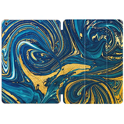 Vonna Case for Apple iPad 12.9 Pro 10.2 8th Gen 11 10.5 9.7 Air 3 2019'18 Mini 5/4/3/2/1 Slim Stand Yellow Design Lightweight Closure Print Oil Painting Abstract Yellow Blue Magnetic Watercolor vm366