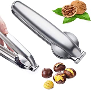 Nutcracker Chestnut Clip, Adromy Metal Nut Cracker Sheller Walnut Opener Pliers, 304 Stainless Steel Kitchen Tools Multifunctional Chestnut Opener, Kitchen Utensils Dried Fruit Opener - 1Pack