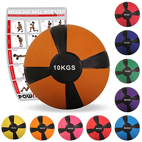 POWRX - Palla Medica 1 kg + PDF Workout (Giallo)