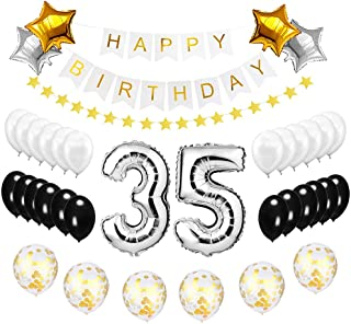 Best Happy to 35th Birthday Balloons Set - High Quality Birthday Theme Decorations for 35 Years Old Party Supplies Silver Black Gold