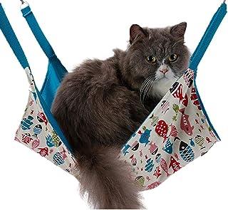 Yu-Xiang Double Side Cat Hammock Fish Design Kitten Hanging Bed Canvas Pet Sleep Bag Comfortable House Summer Spring (Blue)