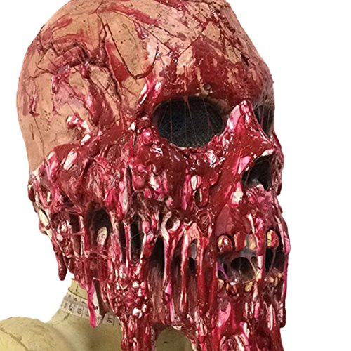 Ruikey Zombie Bloody cráneo máscara Traje de Halloween Máscara de Fiesta Horror Latex Zombie Mummy máscara Completa Accesorios de sombrerería para Adultos Cosplay