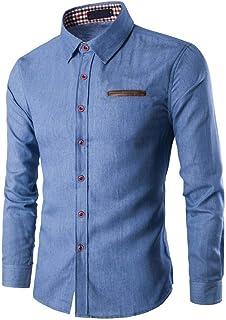 Camisas De Manga Larga para Hombres, Camisa De Manga Tamaños Cómodos Larga para Hombres Camisa De Mezclilla Camisa De Mang...