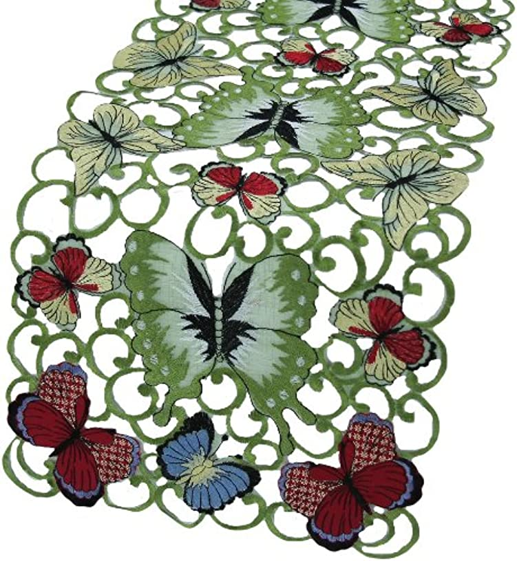 Xia Home Fashions Butterflies Embroidered Cutwork Spring Table Runner, 15-Inch by 54-Inch