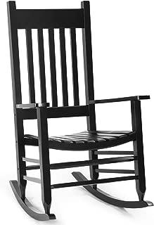Giantex Solid Wood Rocking Chair Porch Rocker Indoor Outdoor Deck Patio Backyard Rocking Chairs (Black)